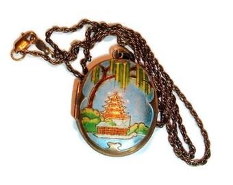 Oriental Pagoda, vintage Silver Locket, Cloisonne Jewelry, 1/20th 14 K G.O., two sided Locket,Oval Locket , Photo Locket,vintage locket