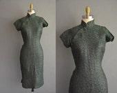 r e s e r v e d...green shimmery rose floral 1950s cheongsam 50s vintage dress. 50s dress /  vintage 1950s dress