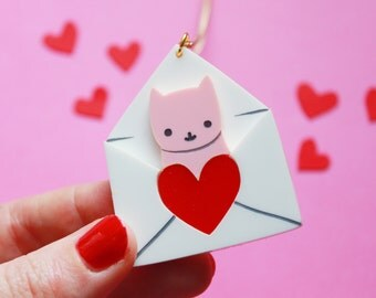 Love Letter Cat Necklace. Valentines gift. Galentines gift. Best Friend Gift. Pink Cat Necklace. Cat jewelry. Gift for her. Cat lover gifts