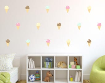 Ice Cream Cone Wall Decals, Vinyl Wall Decals, Repositionable and Reusable, Ice Cream Decals, Fabric Wall Decals, Ice Cream Wall Paper