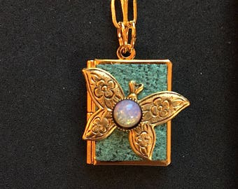 Butterfly Peace Book-turquoise and gold