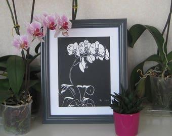 Orchid Lino cut
