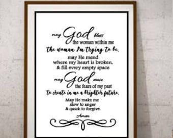 Scripture Print Christian Print Encouragement Print God Bless Digital Photo Printable File   5x7, 8x10, 11x14, 16x20   Instant Download