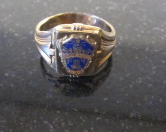Vintage Gold Filled Ring with Colbalt Blue and Gold Shield