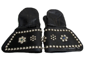 Studded Motorcycle Gauntlet Gloves Vintage 1950's Men's Chicago Motorcycle Supply Black Leather Studded and Faux Jeweled Riders Mittens