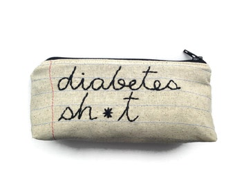 Diabetes Sh*t - Testing Tool Bag - Mature - Handmade Zipper Pouch - Notebook Paper Fabric - Asterisk - Travel Bag