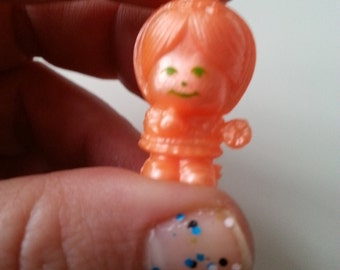 ULTRA RARE, girl, orange shimmer, vintage, charmkins, scented, Hasbro, 1980s, scubidu, pimpi rosa, by NewellsJewels on etsy