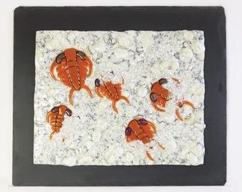 Ceraurus Fossil Trilobites Fused Glass Wall Panel