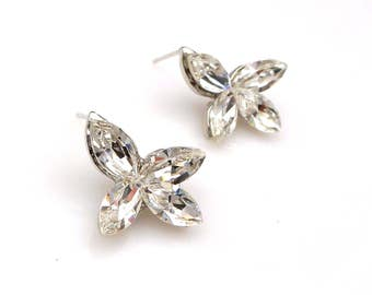 christmas prom bridal wedding bridesmaid gift Swarovski clear white marquise flower foiled crystal rhinestone rhodium stud post earrings