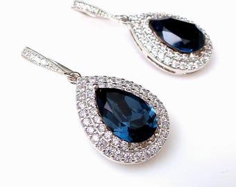 wedding jewelry bridal bridesmaid gift prom double halo Clear white teardrop AAA cubic zirconia deep navy montana blue crystal hook earrings