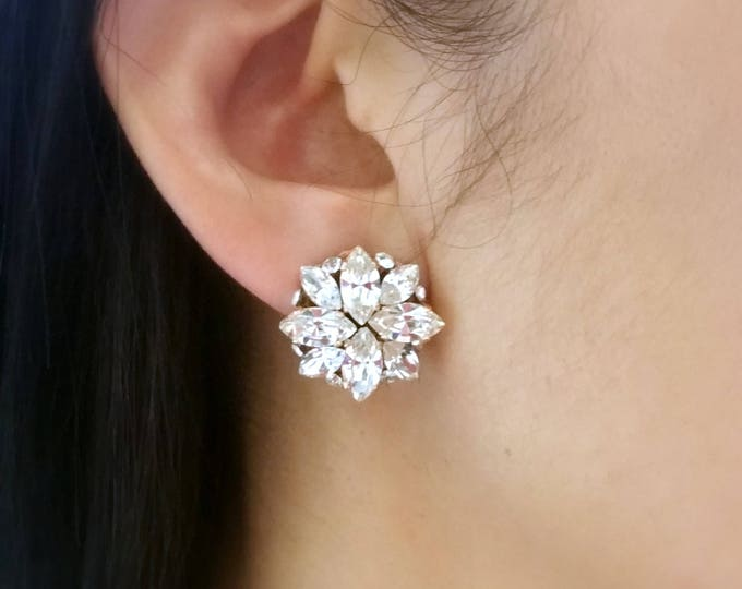 bridesmaid bridal party gift prom jewelry wedding swarovski marquise cluster clear white rhinestone crystal rose gold clip or post earrings