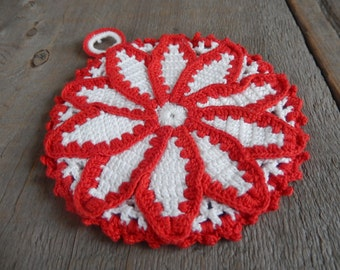 Christmas Crochet Pot Holder Vintage Home Decor