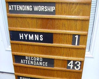 Antique Vintage Church Attendance Offering Hymn  Board Sign with Insert Signs/Numbers #2