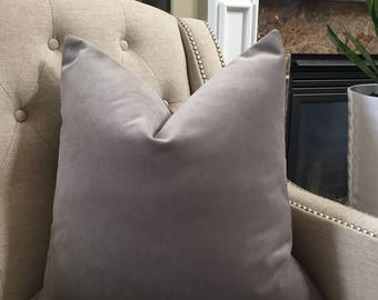 "Decorative Designer Pillow Cover - 20""x20"" - in grey velvet"