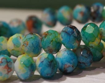 30 Water Color Glass Bead Rondelle 7x6mm