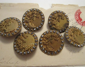 6 large antique brass and cut steel picture buttons - tree of life - shank buttons - 1.25 inches - rare buttons, set of 6
