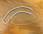 Vintage 1980s Sterling Silver Add A Bead Necklace / Free Shipping