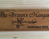 Biplane Personalized Sign, Wooden sign, Airplane, Prop Plane, garage sign,  Pine carved sign, Fathers Day Gift