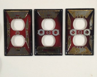 Set of 3 double plug outlet covers