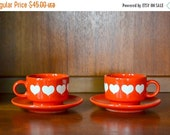 SALE 25% OFF vintage waechtersbach red heart coffee cups and saucers / valentines day decor / red heart mug