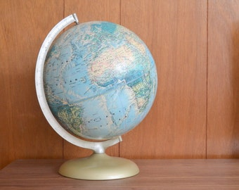 vintage rand mcnally world portrait globe / geographical home decor / educational