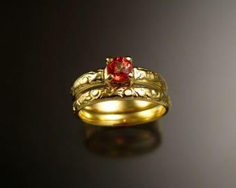 Orange Sapphire 14k Green Gold Victorian floral pattern wedding ring set Padparadscha engagement rings