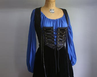 Royal Blue cotton gauze peasant blouse shirt chemise for renaissance medieval faire gypsy pirate -ready to ship-