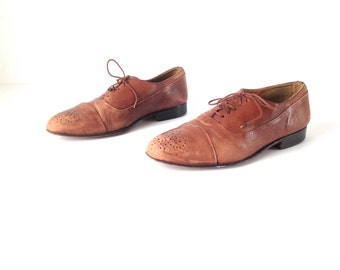 mens size 10 OXFORD spectator brown leather 80's WINGTIPS dress shoes made in ITALY