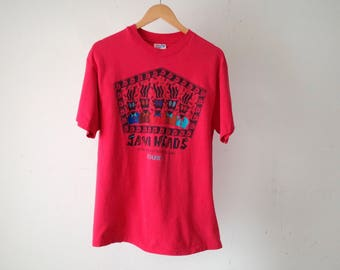 vintage 90s cafe COFFEE shop ESPRESSO early internet JAVA heads red t-shirt size large