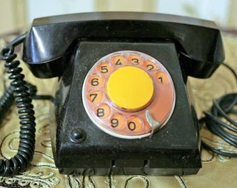 Vintage Black Rotary Telephone - Working Retro Telephone - VEF TA-68 - 1960s - from Russia / Soviet Union / USSR