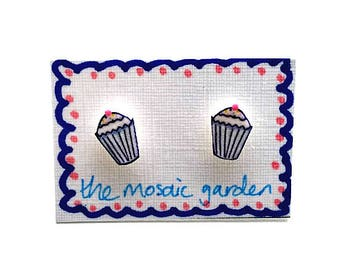 Cupcake Earrings, Blue, Cupcake Studs, Shrink Plastic, Gift for Her, For Mum, Jewellery, Mother's Day