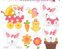 ON SALE Baby Bunny Girls Cute Digital Clipart, Easter Bunny Clipart, Baby Bunny Rabbit, Easter Clip art, Easter Graphics, Easter Digital Dow