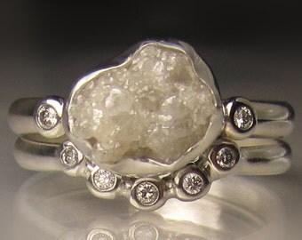 White Raw Diamond Engagement Ring - Recycled Palladium Sterling - Rough Diamond Ring - 2.10CTS