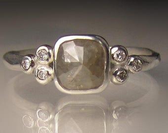 Rose Cut Diamond Engagement Ring, Diamond Cluster Ring