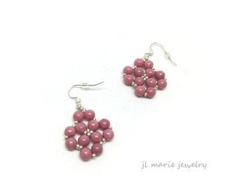 pink gemstone earrings . rhodonite earrings . gift idea . pink . light weight .