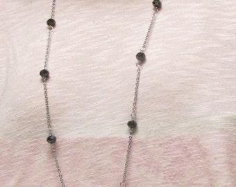 """36"""" Black Crystal Floating Necklace Set #20332"""