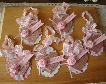 valentine's day gift tags pink glitter hearts paper ornaments xoxo party favors tags package ties shabby chic pink tag ornament