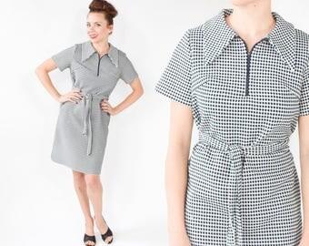 60s Mod Dress | Navy & White Polka Dot Knit Dress | Large