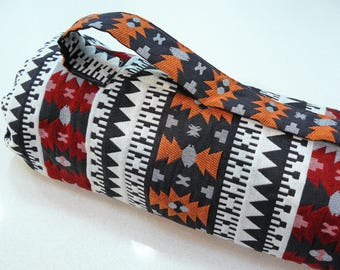 NEW XL Yoga Bag - Exercise mat bag - orange, black and red striped with Large velcro pocket
