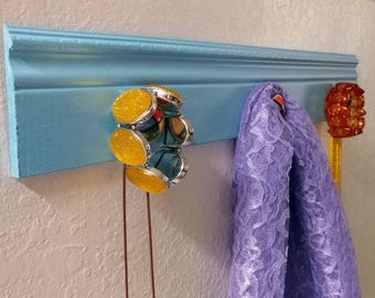 Shabby Chic Blue Wall Organizer For Jewelry Keys Hats and More