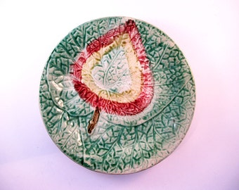 Antique Majolica Begonia Leaf Shaped Plate