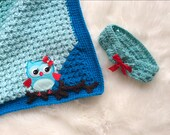 Blue Granny Corner 2 Corner Crochet Blanket and Headband PATTERNS - Great Beginner Pattern