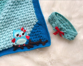 Blue Granny Corner 2 Corner Crochet Blanket and Headband - Ready to Ship