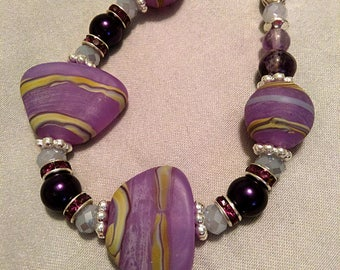 Lavender Purple n Silver Necklace with Lampwork Beads