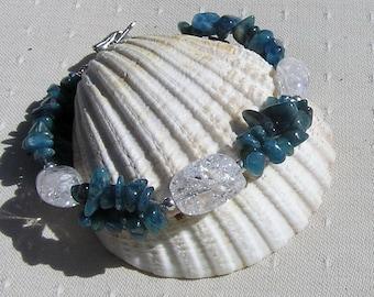 """Apatite & Crackled Clear Quartz Crystal Gemstone Bracelet """"Javan Dew"""", Teal Bracelet, Quartz Bracelet, Chakra Bracelet, Apatite Bracelet"""