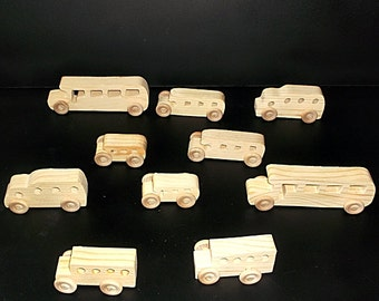 10 Handcrafted Wood Toy School Buses  OT-3  unfinished or finished