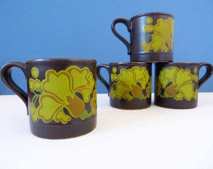1970's flower power mugs - Staffordshire potteries x 4
