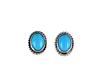 SLEEPING BEAUTY TURQUOISE Earrings Posts Oval New World Gems