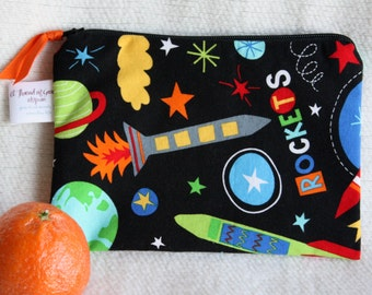 "Zippered Reusable Snack Sack, Half Size - 7.5"" x 5""-EcoFriendly, Machine Washable, Space / Rocket motif"