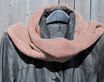 Antique Blush Rose Pink Coral Salmon Gray Scarf, Winter Spring Rustic Country Cabin Beach Cottage Urban City Womens Fashion, Gift for Her